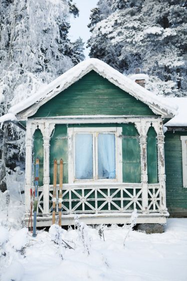 SEASONAL – WINTER – a new-fallen snow appears so peaceful, but still gives me the chills at the cottage.
