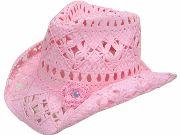 "Selah's 1st birthday--Girls ""Pink Flower Toyo"" Jr. straw cowgirl hat"