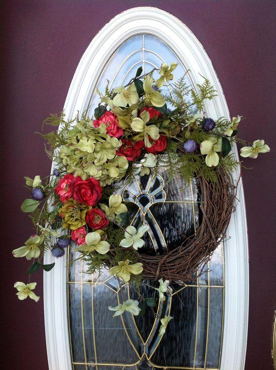 Spring Wreath Summer Wreath Grapevine Door by AnExtraordinaryGift