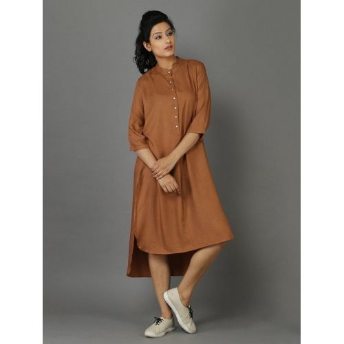 Brown Rayon Moss Shirt Kurti