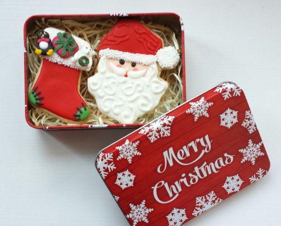 Christmas Cookie / Biscuit Tin - Santa and Stocking