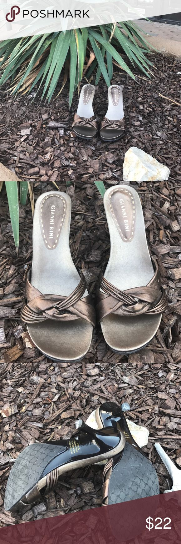 Like new bronze, leather, kitten heel shoes Beautiful Gianni Bini bronze shoes like new! Gianni Bini Shoes