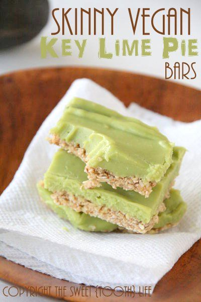 Skinny Vegan Key Lime Pie Bars! Oh my goodness these sound amazing!!!! The recipe is by Mary Frances from the blog http://thesweet-toothlife.com. ! You have to see her other recipes too! She is so  talented- not all her recipes are vegan but most are 'secretly healthy' and require very few modifications to become vegan. (Comment by @paigeydoll1 )
