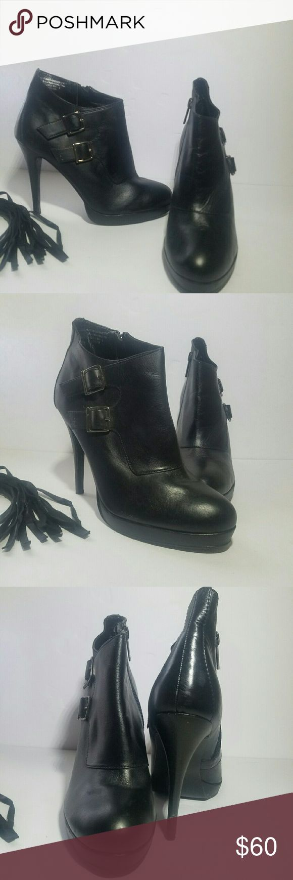 "Colin Stuart Bootie Embrace your inner rebel with this stylish Bootie featuring Side Buckles Leather upper  Approximately 4"" heel with 1/2"" platform  EUC Colin Stuart Shoes"