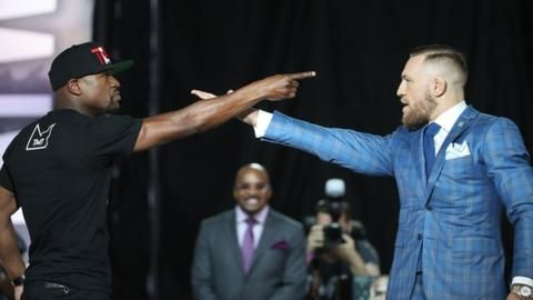 Floyd Mayweather and Conor McGregor continued to trade insults on the second day of a media tour to promote their Las Vegas fight in August.Former five-weight world champion Mayweather faced UFC lightweight title-holder McGregor in Canada in front of 16,000 fans in Toronto.McGregor, 28, danced around
