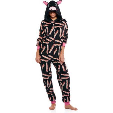 Body Candy Juniors Microfleece Sleepwear Adult Onesie Costume Union Suit Pajama with Critter Hood, Size: Small, Black