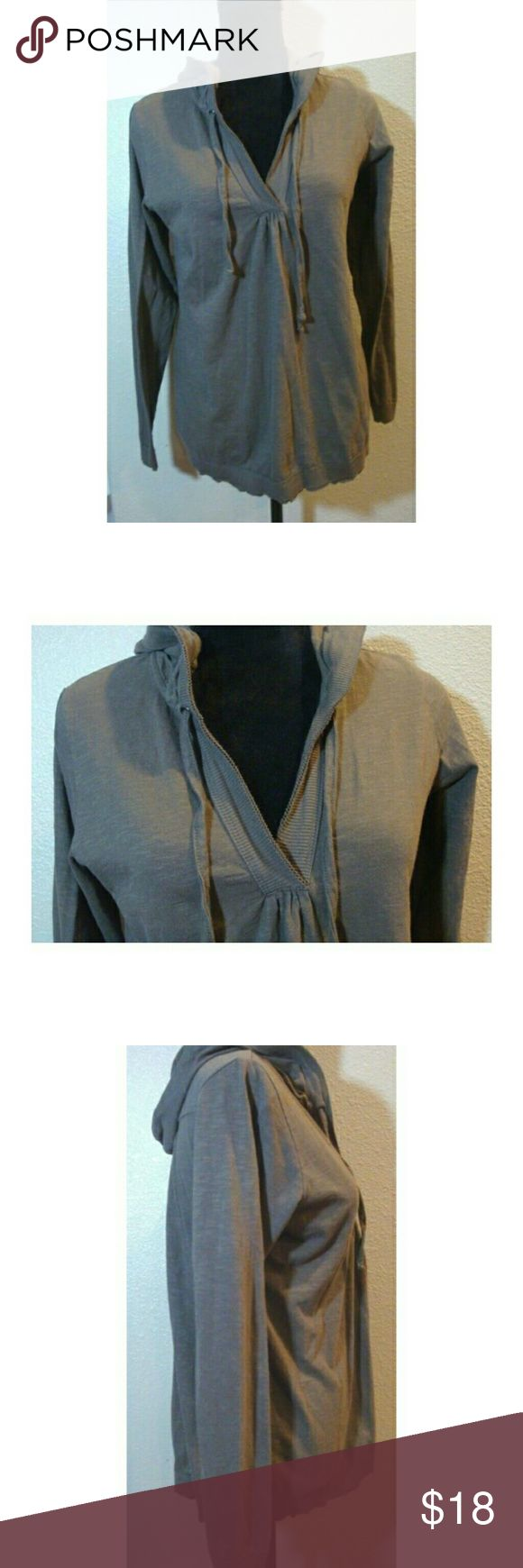 "AVENTURA CLOTHING 100% organic cotton L/S hoodie Excellent pre-owned AVENTURA CLOTHING, 100% organic cotton, Long-Sleeved Hooded Pullover, unique color is Grayish Taupe leaning towards brown, size Medium. Ties at neckline.  Length - 25"" Pit to pit - 17""  Smoke and pet free home  (P) aventura Jackets & Coats"