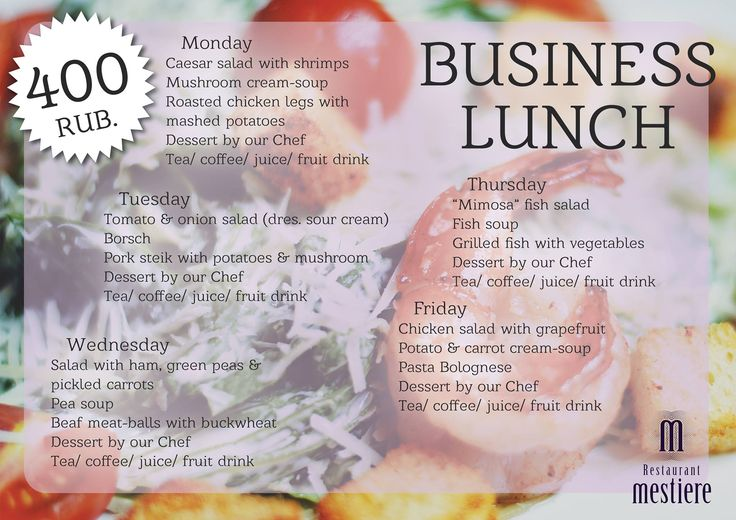 We are glad to present you our #new #business #lunch #menu at #Mestiere #restaurant !!! Looking forward to seeing you ;)  Leninskiy pr-kt, 38  84959302288