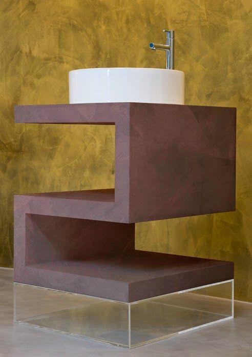 mueble lavabo diseño microcemento