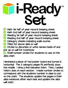 I created these fully editable i-Ready record keeping pages to put into my students' data notebooks.  I also created the parts needed to make an i-Ready data wall.  All the pieces are included, just laminate some poster board and assemble!  I simply turned the poster board horizontal.