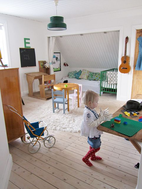 Attic Room in Sweden. I love how you can get creative with attic spaces.