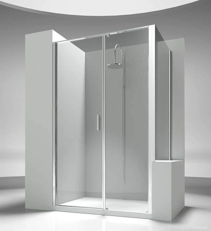 Shower enclosure next to a bath tub or a small wall. It is made by an opening element with two opening doors and a short panel. The standard height of the complete programme is 195 cm, so to propose Linea as natural complement of the new generation of shower trays, partially or totally built in. Shower enclosures Linea by @vismaravetro| L2+LP