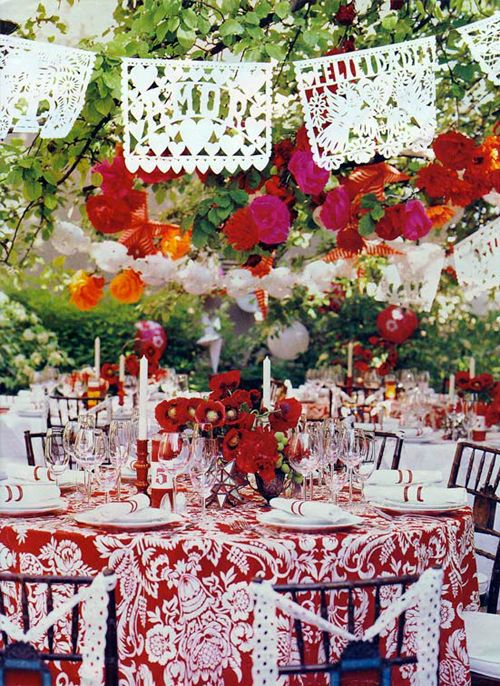 Great tablescape idea for my red and white tablecloth