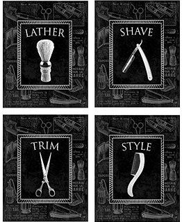 Stylish 'Men's Grooming' Wall Decor Prints - 4, 8x10 Pictures in a Set. Great for Bathroom, Bachelor Pad, & Barber Shop Decoration!