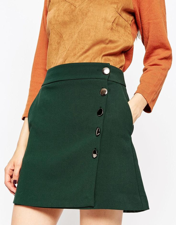 ASOS A-Line Mini Skirt with Asymmetric Button Detail (like the skirt, not the shirt)