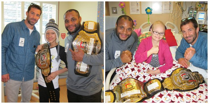 What do UFC fighters Daniel Cormier and Luke Rockhold have in common with kids like Karina?  They know what it means to stay positive and never quit!  Thanks to Daniel, Luke and ChokeOut Cancer for visiting with our patient champs this week!