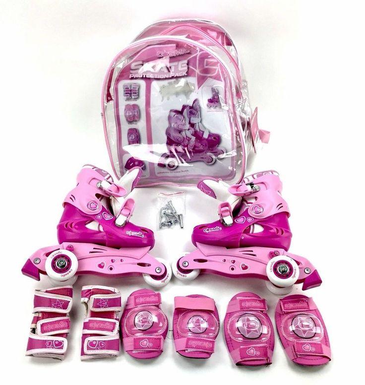Cosmic Girls Skates Protection Adjustable C10-C13 Pink / White In Bag RRP 59.99