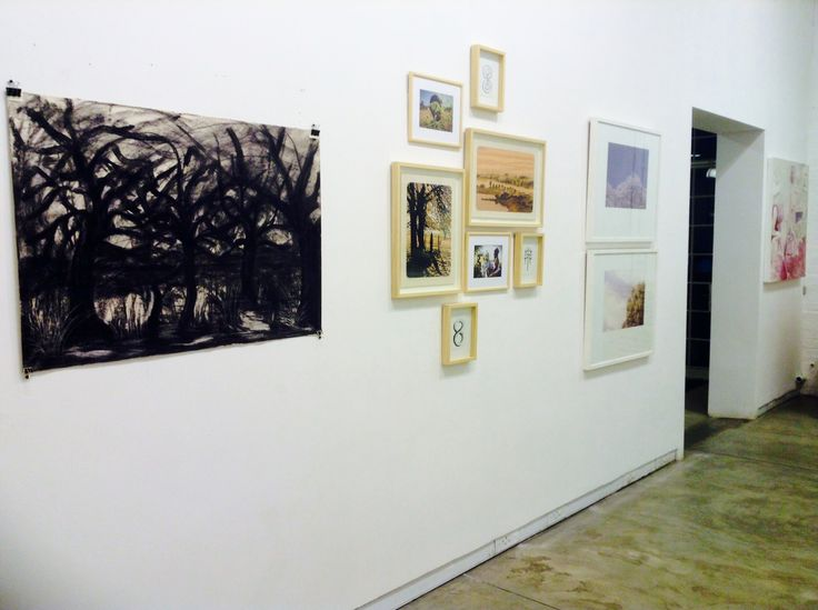 Installation image from Arts On Main showing works by Chepape Makgato, Joshua Miles, Gawie Joubert and Michael Meyersfeld.