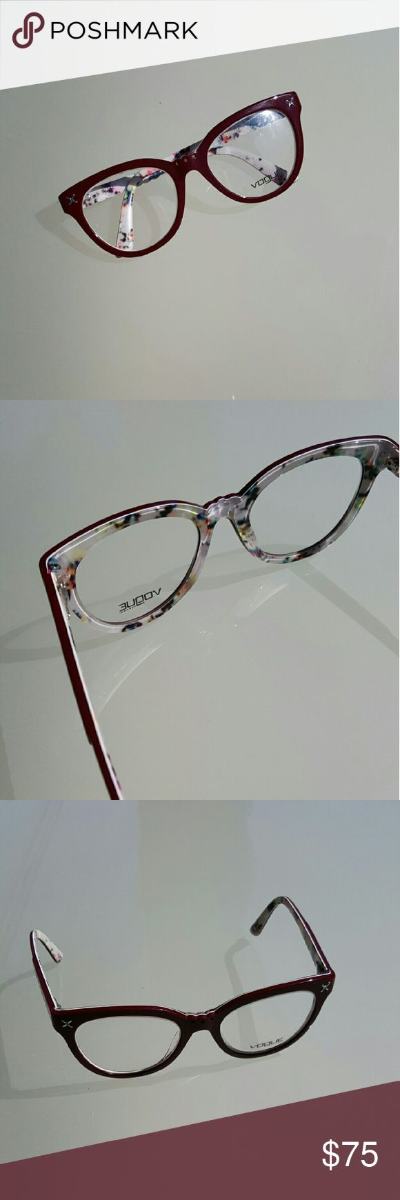Charlotte Ronson for Vogue glasses Vogue glasses designed by Charlotte Ronson. Burgundy with floral inside. Super cute and in great condition. Charlotte Ronson Accessories Glasses