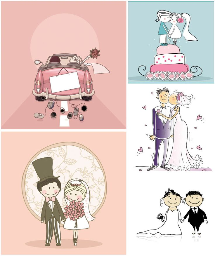 Cartoon Wedding card and background vector