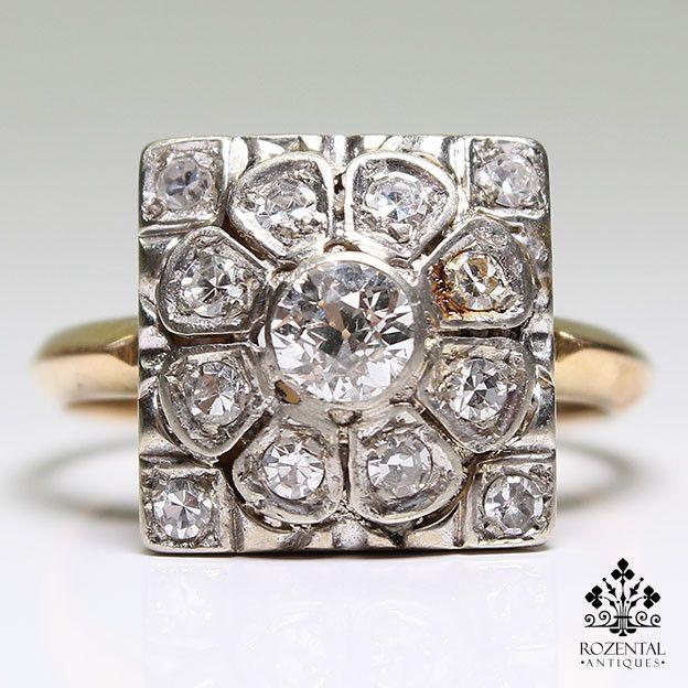Antique Art Deco 18K Gold & Platinum 1.45ctw Diamond Ring