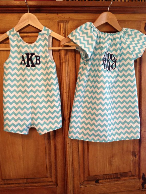 Brother sister matching chevron outfits by gigibabies on Etsy, $70.00
