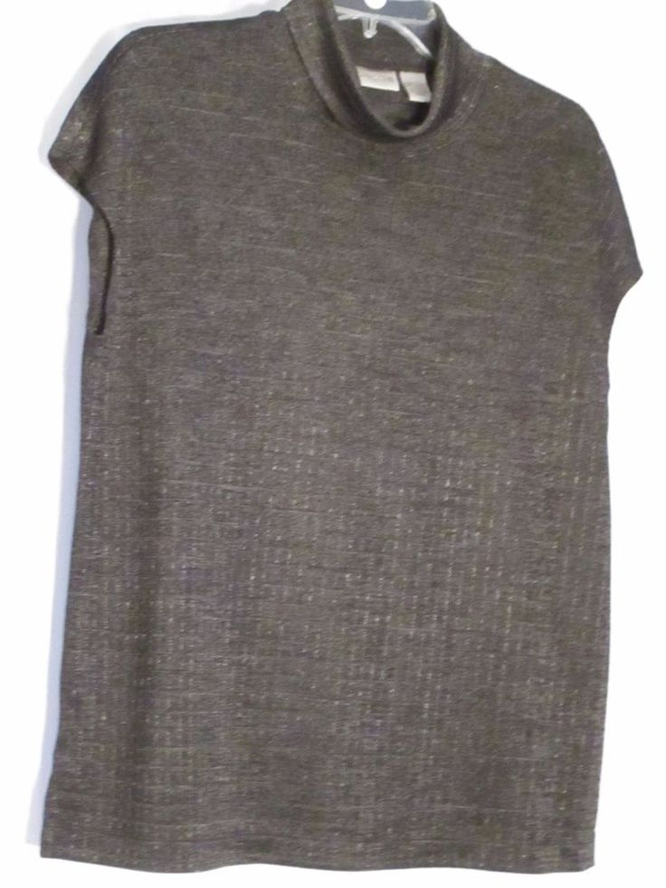 CHICO'S 3 (L) ACETATE/SPANDEX/POLYESTER BLACK/GRAY SHIMMER TOP-$19.99 #Chicos #Turtleneck #Career