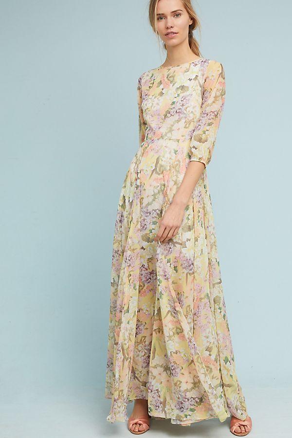 a00ceefcda9 Feminine floral silk maxi dress for a summer wedding