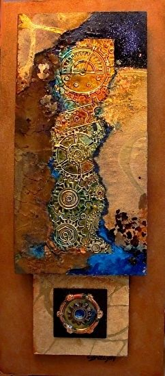 Wheels Keep On Turnin' 12082 by Carol Nelson mixed media ~ 4 x 8