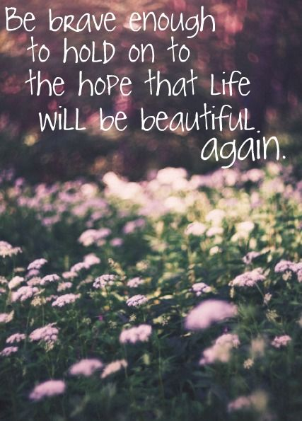 Be brave enough to hold on to the hope that life will be beautiful again...                         Yes, Nina. I will try...