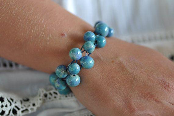 bracelet ceramic jewelry unique bracelet blue ceramic by zolanna