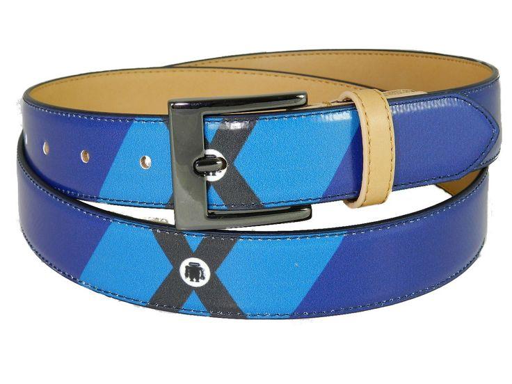 Cintura donna/uomo Paul Meccanico fantasia geometrica colori blu e celeste.
