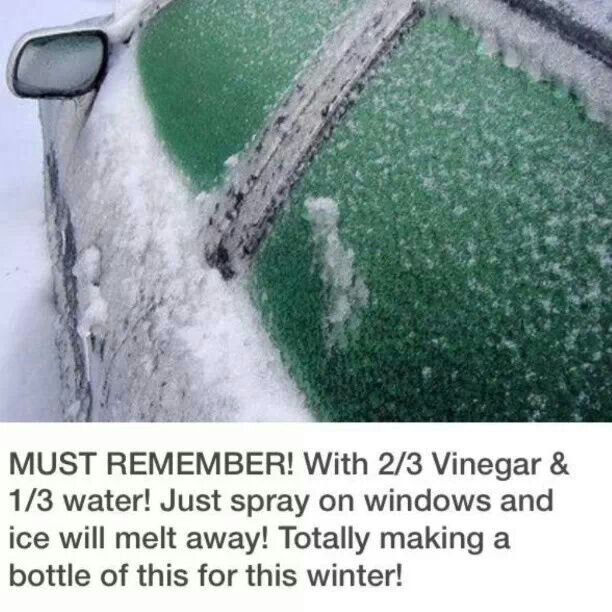 Mix 2/3 Vinegar with 1/3 water into a spray bottle. Spray on the windows of your car and the ice will melt away. Perfect for cold, wintery mornings when you're running late!