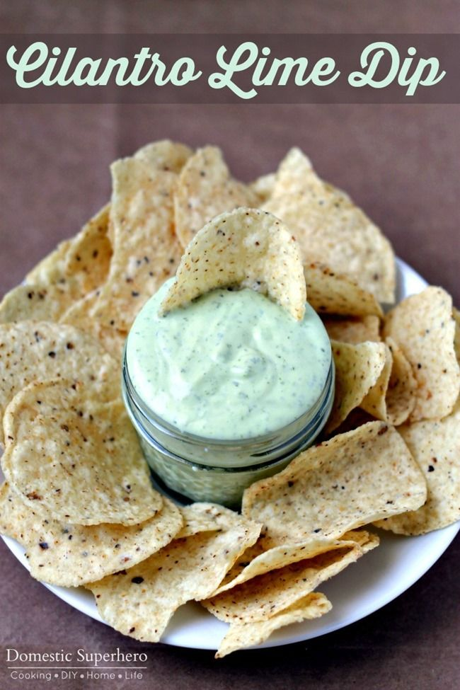 Cilantro Lime Dip. A little hot pepper or chipotle Tabasco sauce would be a great addition