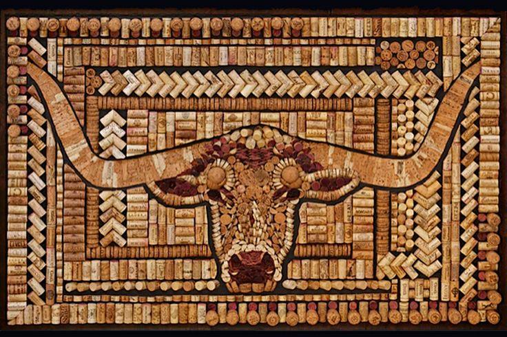 Longhorn art with wine corks by Wine Cork Designs