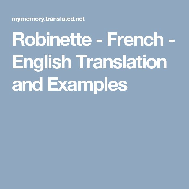 Robinette - French - English Translation and Examples