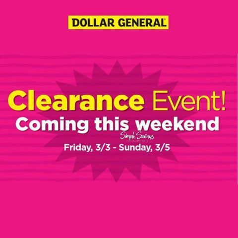 Upcoming Dollar General Clearance Event http://simplesavingsforatlmoms.net/2017/03/upcoming-dollar-general-clearance-event.html