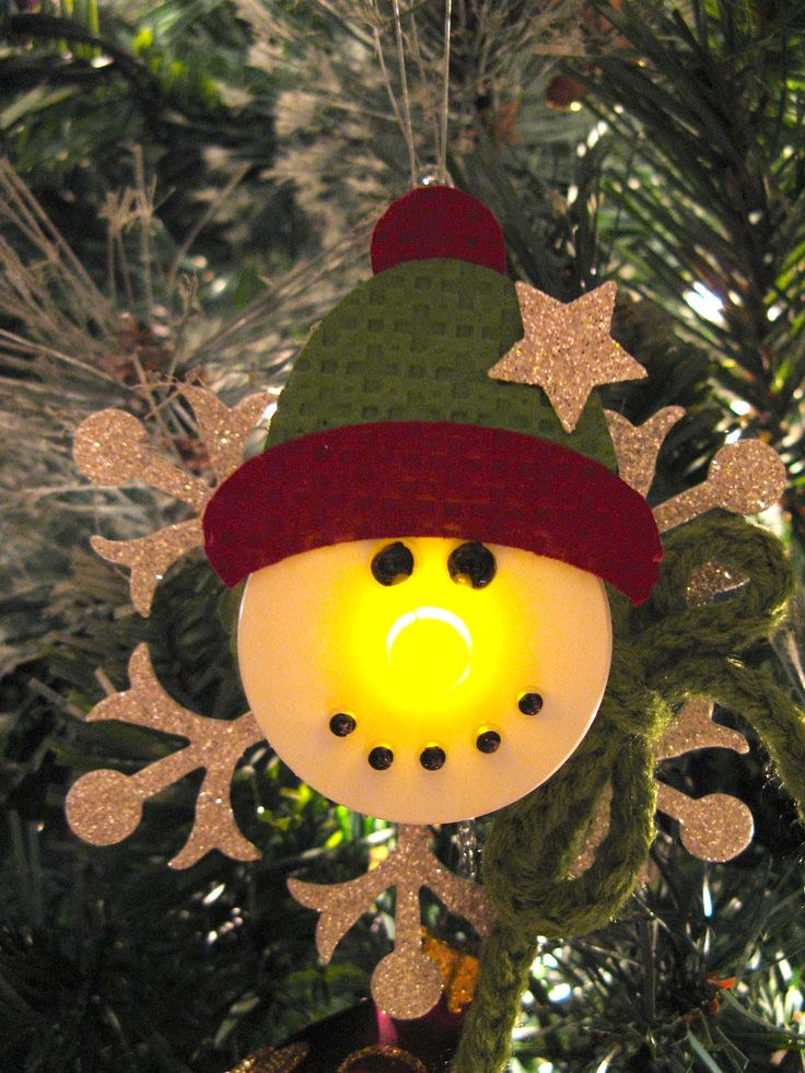 Snowman ornament made with a battery operated tea light, so cute!!