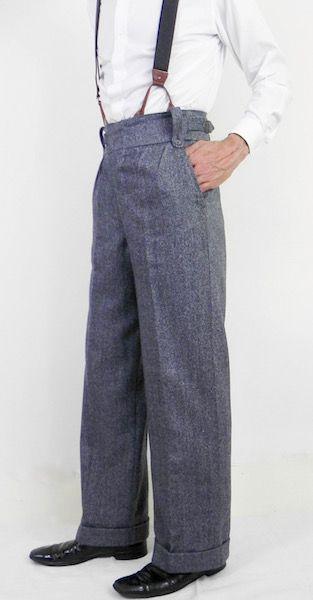 French Blue Grey Herringbone Oxford Bags