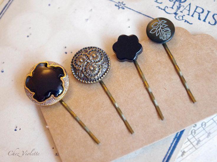 Broche cheveux noir Vintage bouton bobby Pin cheveux rétro coiffure élégante coiffure (10