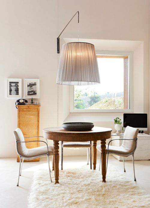 big lampPendants Lamps, Shades, Dining Room, Lights Fixtures, Interiors, Home Decor, Dinner Ideas, Design, Dining Tables