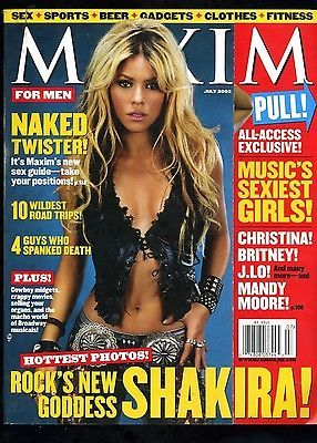 SHAKIRA ! Rock's New Goddess Maxim Magazine July 2002 Pull out cover HOT!!!