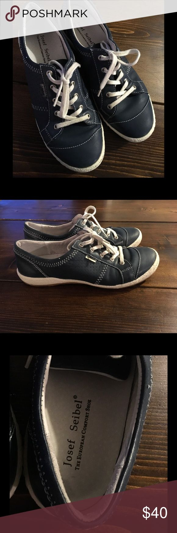 Josef Seibel Caspian Sneaker - European chic shoe Navy leather sneaker... amazingly comfortable. This is my second pair but they fit a little snug, more like a US size 8. Josef Seibel Shoes Sneakers
