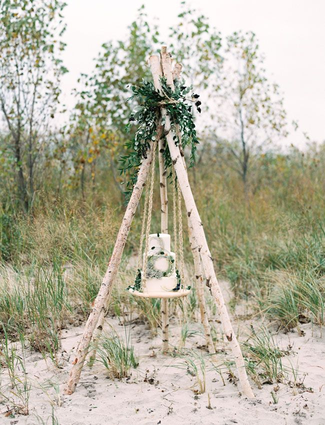Birch teepee frame for the cake