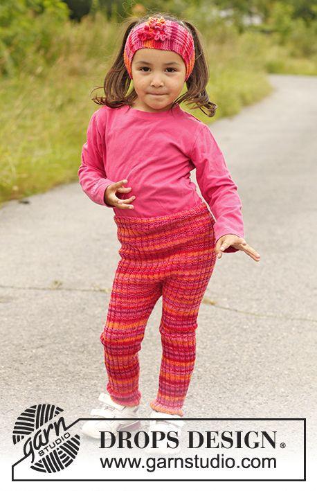 """Nellie / DROPS Children 22-11 - Ribbestrikket DROPS tights i """"Fabel"""". Str 3 til 12 år"""