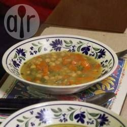 Bacon Hock Soup-----This yummy slow simmered bacon hock soup is packed with potatoes, chickpeas, and veges. Preparation: 0:10, Cook: 2:00, Serves: 8, Rated: 5/5 stars by 1 person.