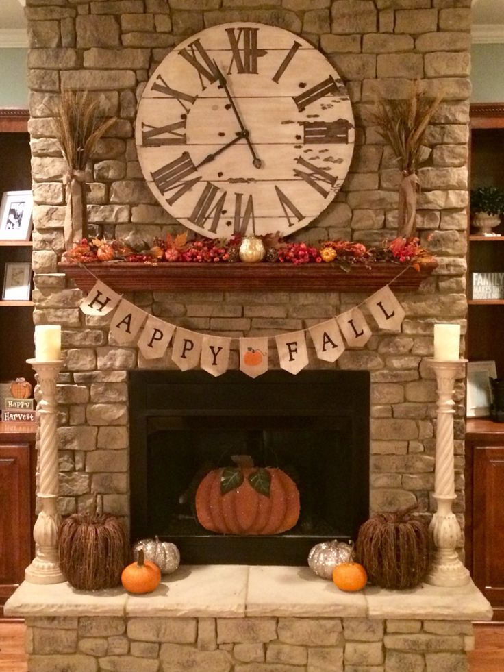 Fall Decorations for the Fireplace Mantel 137