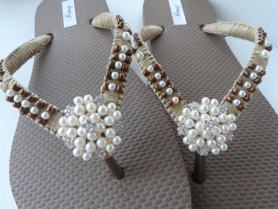 Nupcial ojotas bronce playa boda Flip Flops chanclas verano / fracasos de tirón de las damas de honor.