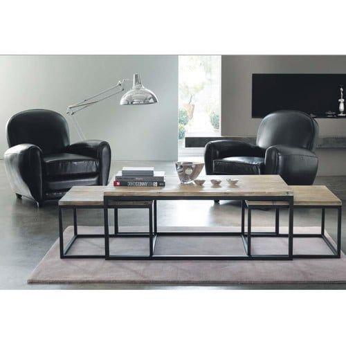 3 tavoli bassi stile industriale in legno e metallo L da 60 cm a 120 cm