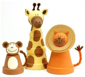 Clay Pot Crafts baby's room zoo decor